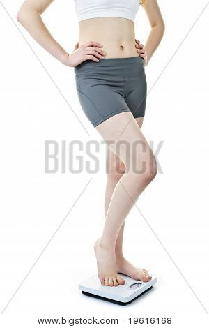 Fit Woman Standing On Bathroom Scale