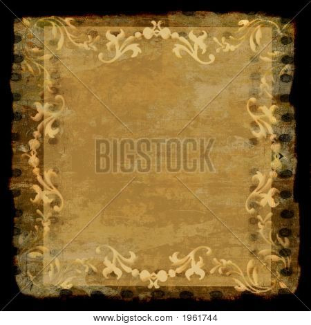 Decorative Border Frame Grunge Gold