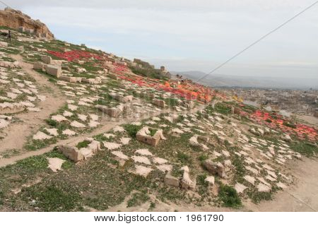 Leather Drying On Hill Over Fez