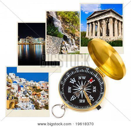 Griechenland-Fotografie und Kompass