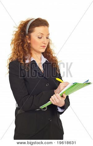 Business Woman Writing