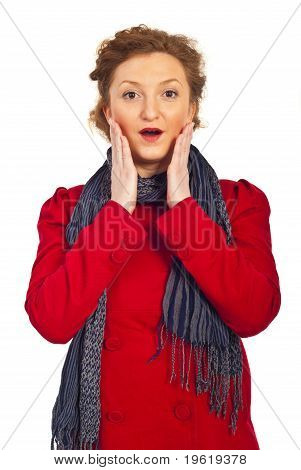 Surprised Woman In Red Jacket