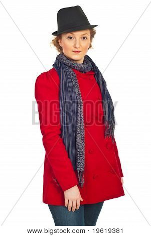 Beauty Woman In Red Jacket And Black Hat