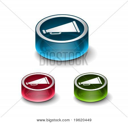3D Glossy Loudspeaker As Announcement Icon
