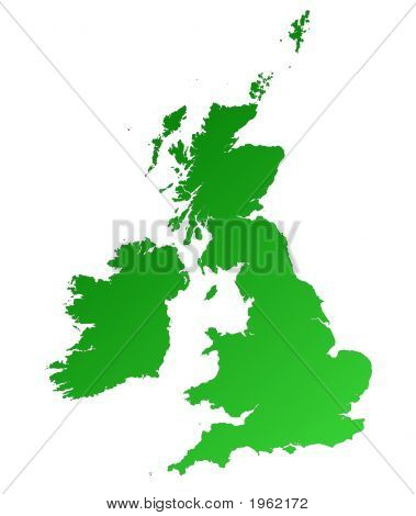 Detailed Green Gradient Map Of United Kingdom