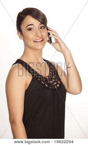 Pretty young woman on phone