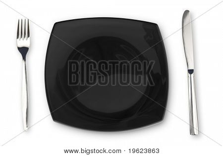Black square plate fork and knife isolated on white