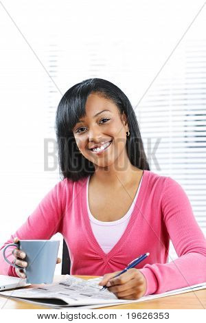 Young Smiling Woman Looking For Job