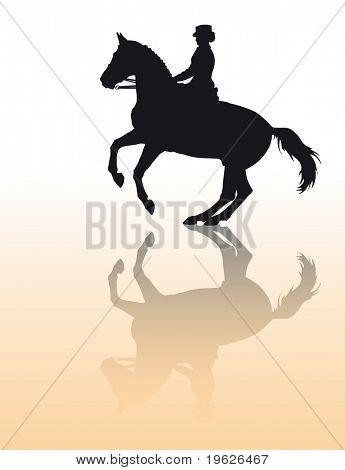 Vector silhouette - equestrian sport: dressage