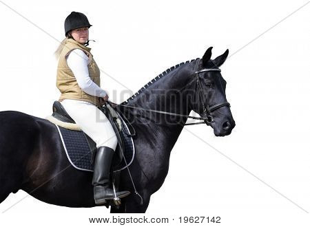 woman and black horse isolated on white