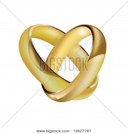 A pair of intertwined wedding rings