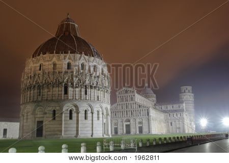 Piazza Dei Miracoli With The Cathedral, Baptistery And Leaning Tower Of Pisa,