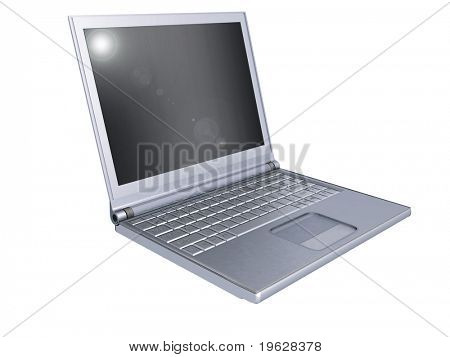 3d silver laptop  on white background.