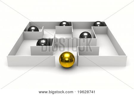 balls in labyrinth on white background. Isolated 3D image