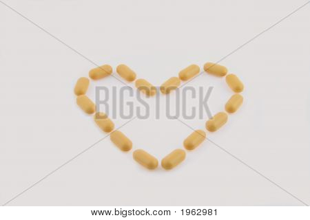 Pills By Pattern In The Manner Of Heart On White