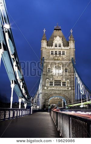 Tower Bridge at night, photo taken in London, UK