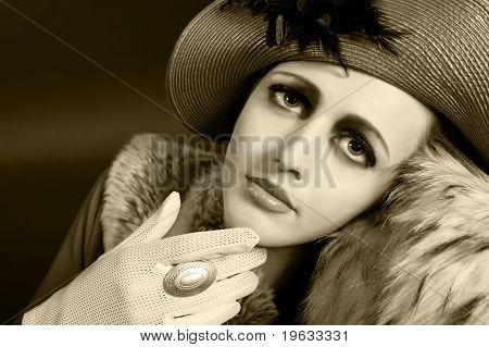 Retro Style Fashion Portrait Of A Young Woman
