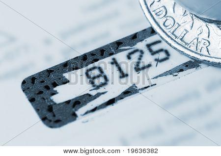 Personal identifier (closeup of credit card pin-code)