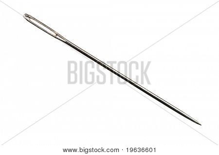 Closeup of isolated needle on white background