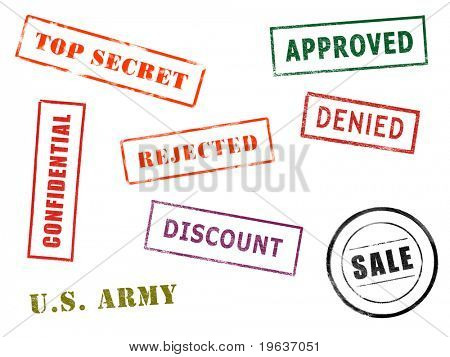 Full-size image of various stamps isolated on white paper background