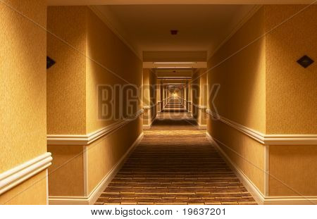 Long hallway in american hotel