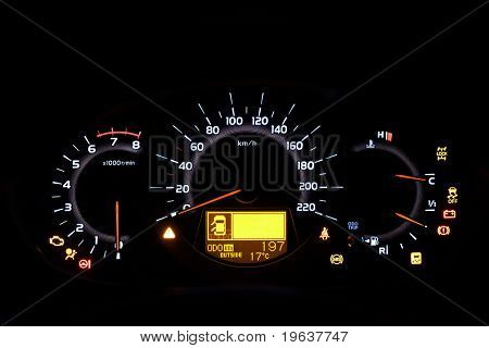 Auto indicator board - closeup of car dashboard