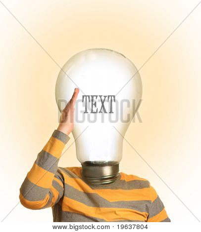 young guy with lamp instead his head
