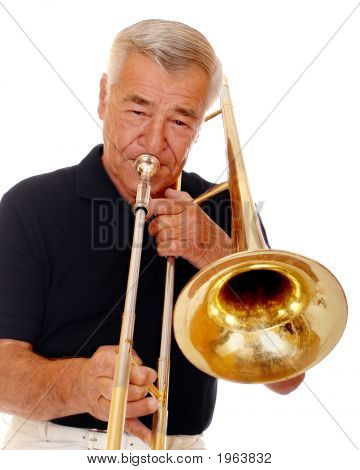 Senior Musician Playing Trombone