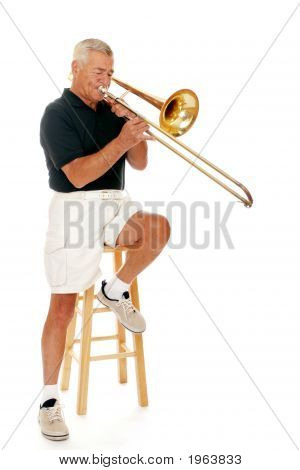 Senior Musician Playing Trombone