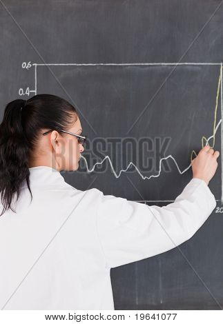 Scientist drawing charts on the blackboard in a lab