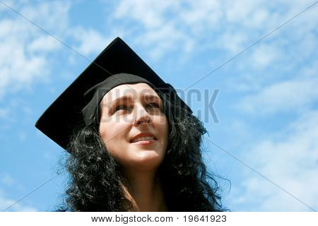 Happy Graduate Student Against Blue Sky