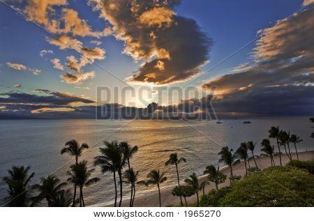 Sunset Over Kaanapali Beach In Maui