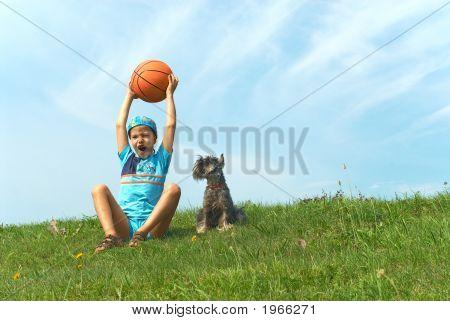 The Boy, Dog And A Basketball Ball