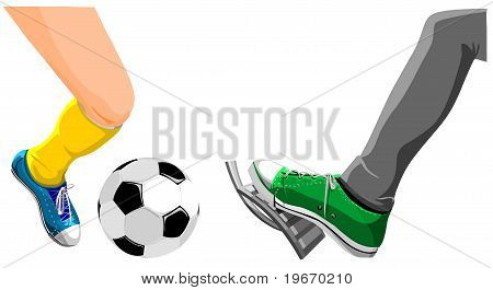 Foot with a soccer ball