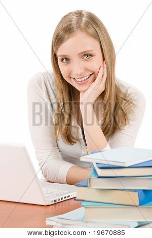 Student Teenager Woman With Laptop Book