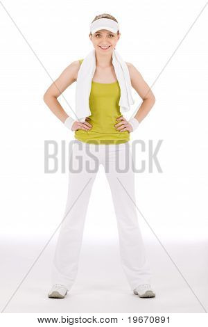 Fitness Teenager Woman In Sportive Outfit Hold Waist