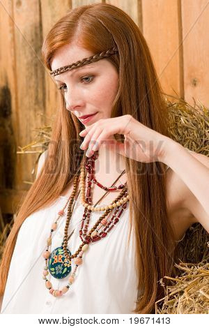 Fashion Model - Hippie Red-hair Young Woman