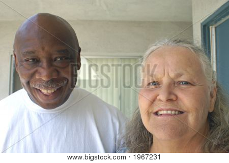 Senior Elderly Couple Diverstiy Concepts Happiness Smiling