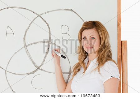 Female Teacher Drawing A Scheme On A White Board