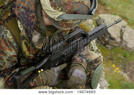 Soldier With Automatic Gun