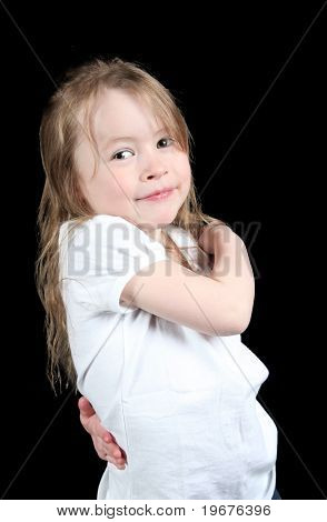 Adorable Little Girl Isolated On Black Background