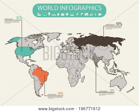 World map infographic template. All countries are selectable. Vector illustration