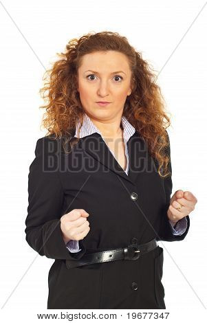 Furious Business Woman Showing Fists