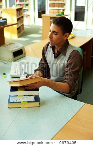 Man Behind Library Counter