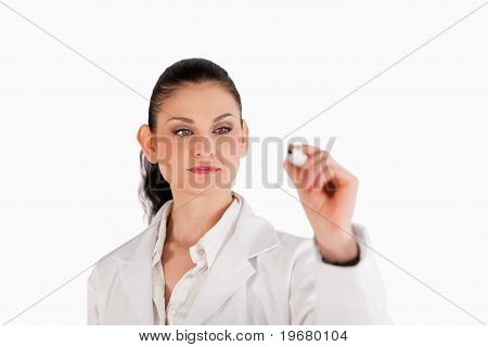 Dark-haired Scientist Writing On An Empty White Board