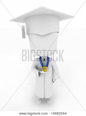 3D Illustration of a Graduate Proudly Showing His Medal