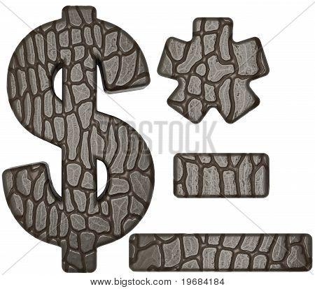 Alligator Skin Font Us Dollar Symbol And Hyphen