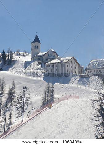 Wintry alpine village