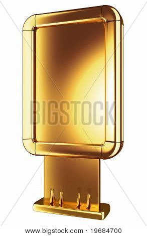 Golden Billboard Or Lightbox Isolated