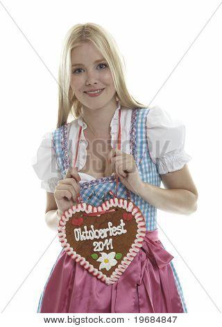 Woman with German Lebkuchen heart